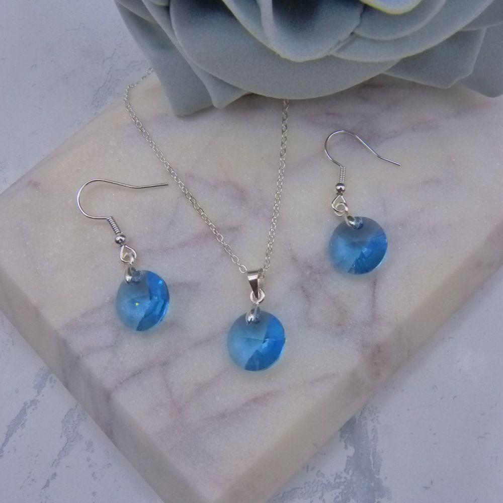 Aqua Blue Crystal Disc Jewellery Set