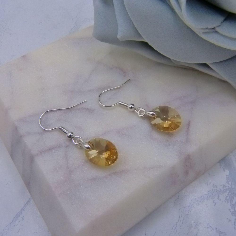 Golden Crystal Oval Earrings