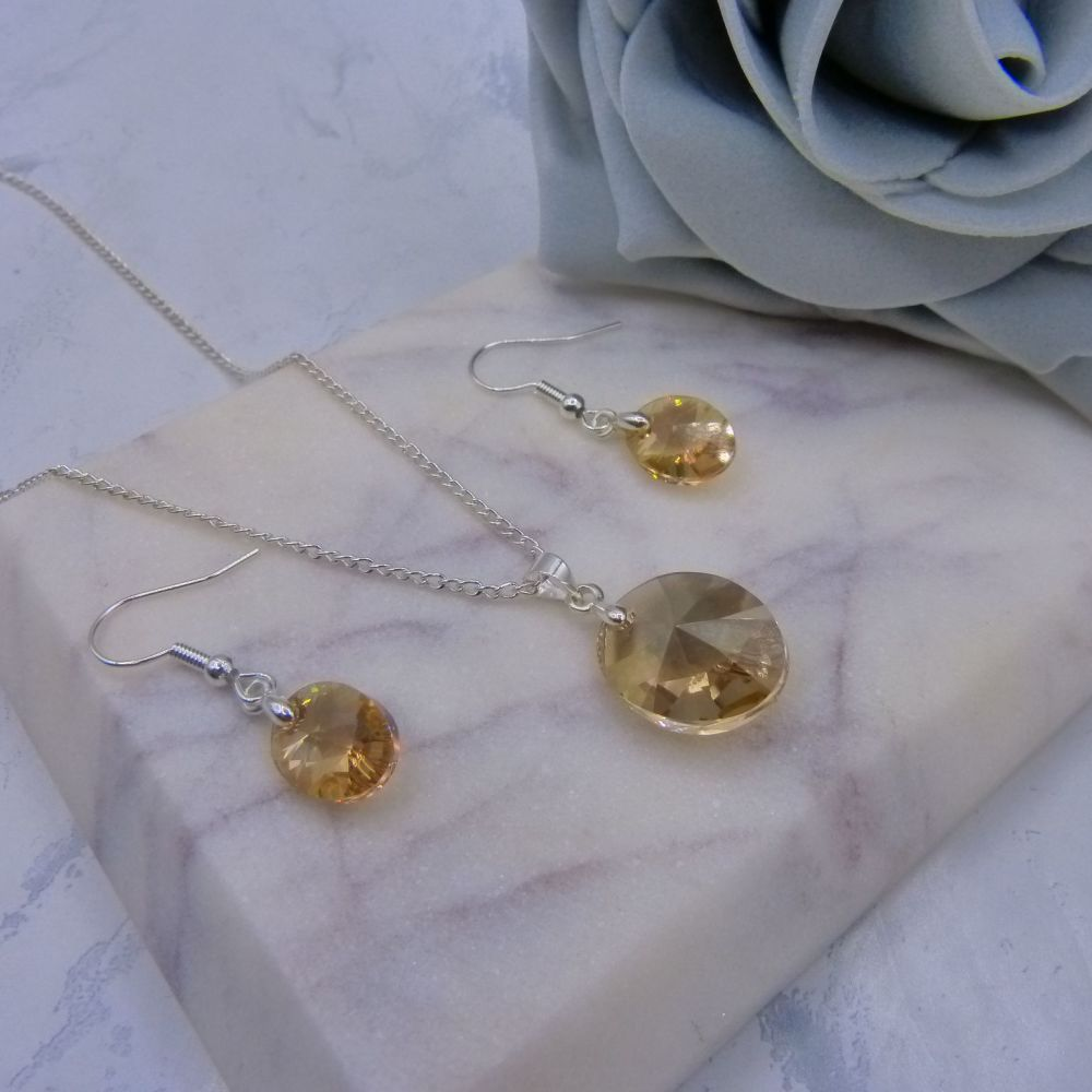 Golden Shadow Crystal Oval Jewellery Set