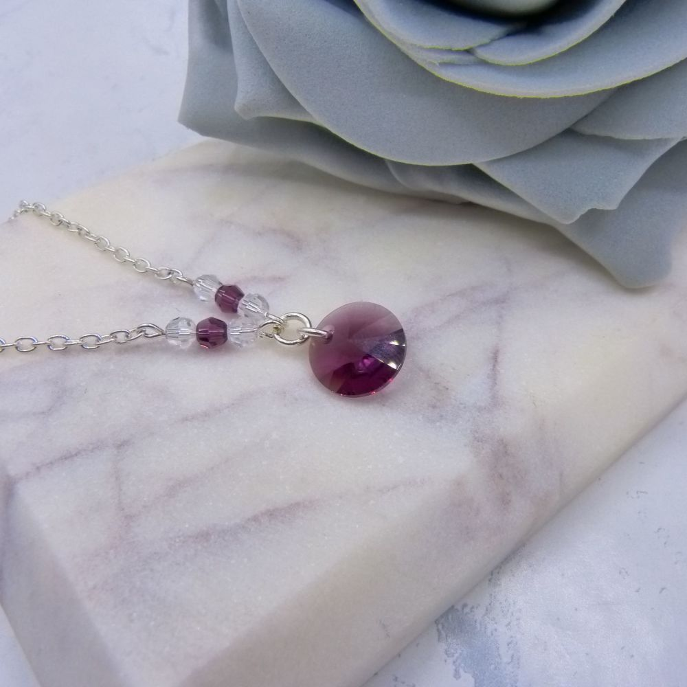 Amethyst Purple Crystal Chain Necklace