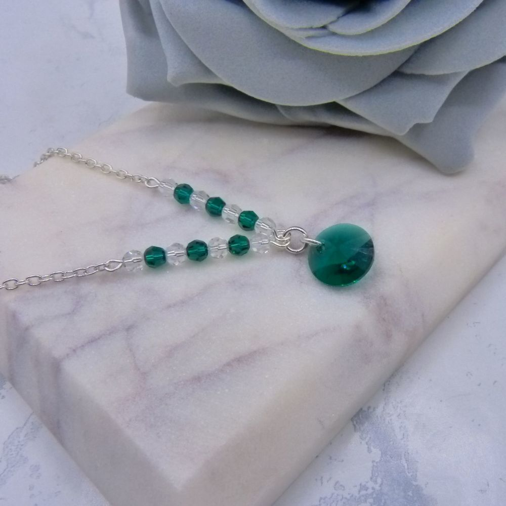 Emerald Green Crystal Chain Necklace
