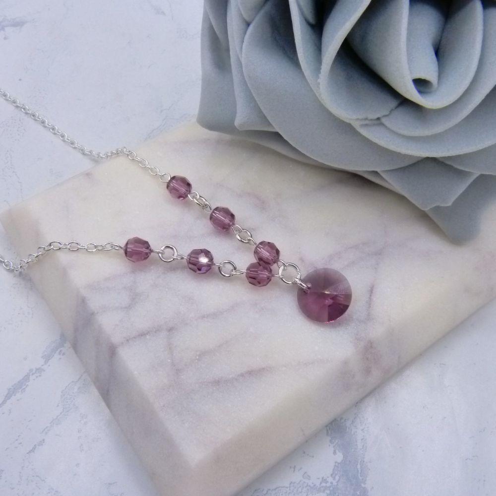Iris Purple Crystal Chain Necklace