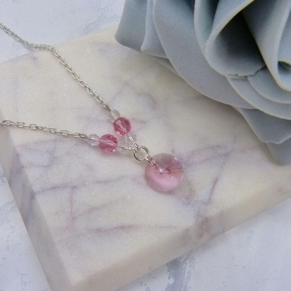 Light Rose Pink Crystal Chain Necklace