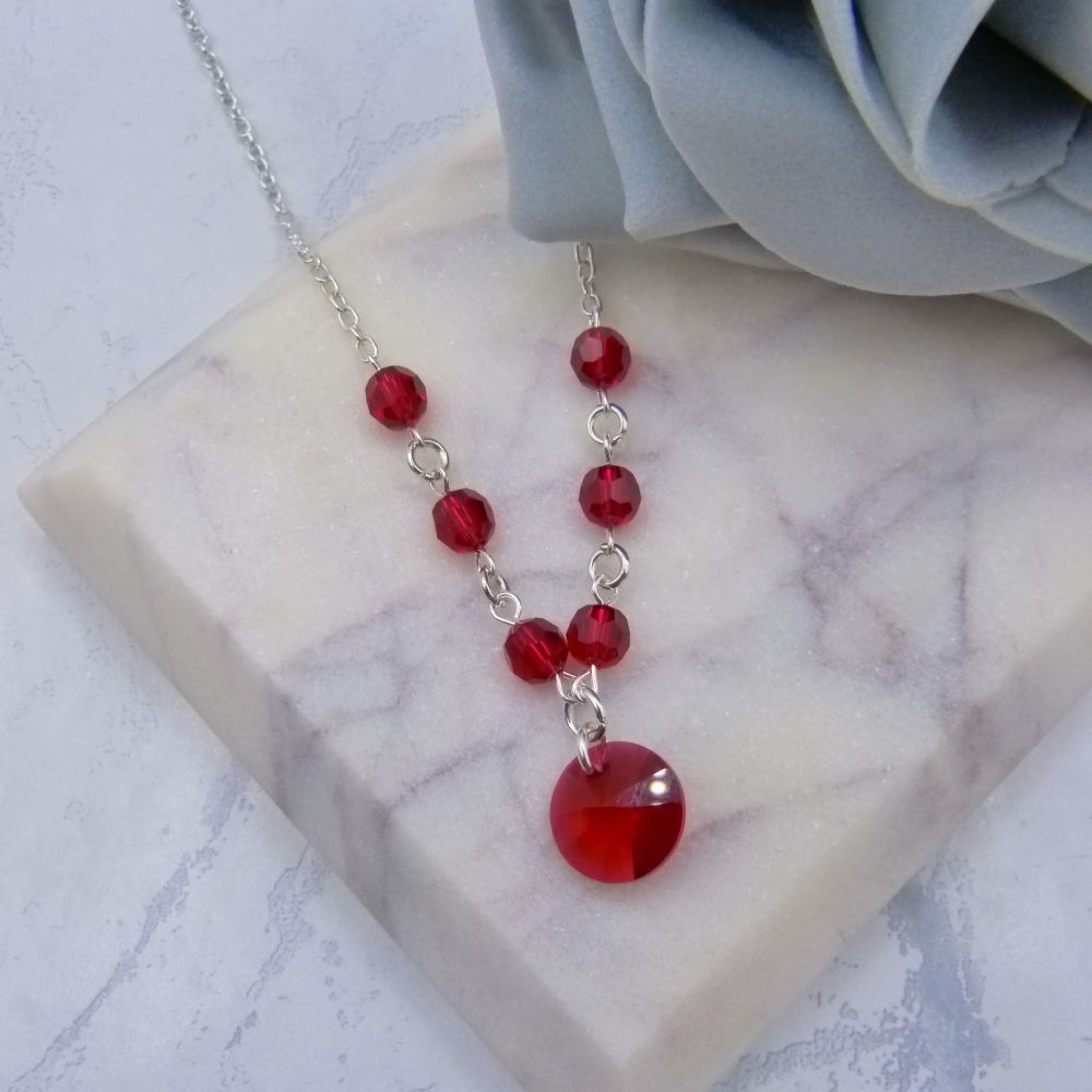 Scarlet Red Crystal Chain Necklace