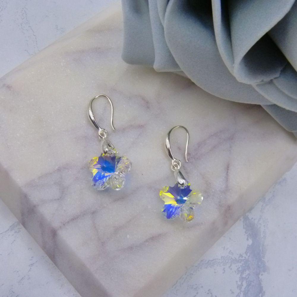 Aurora Borealis Crystal Flower Earrings