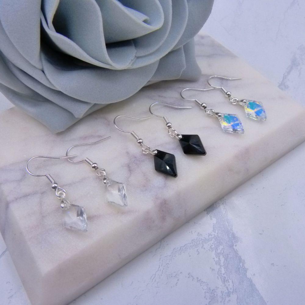 Delicate Diamond Shaped Crystal Earrings