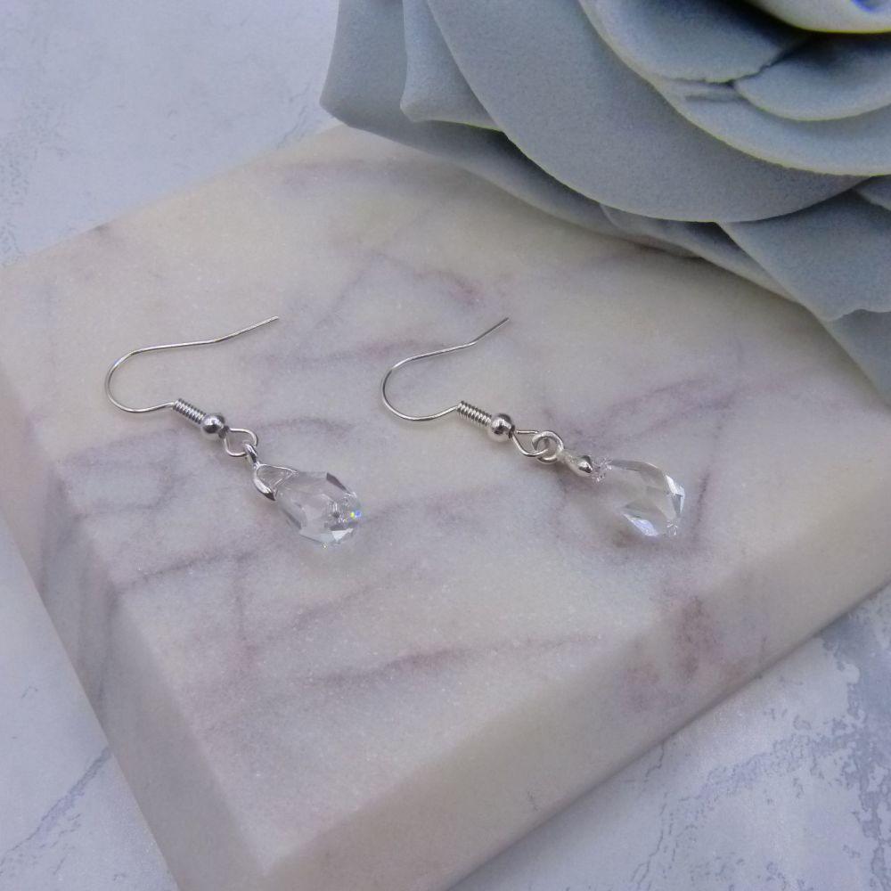 Tiny Crystal Drop Earrings
