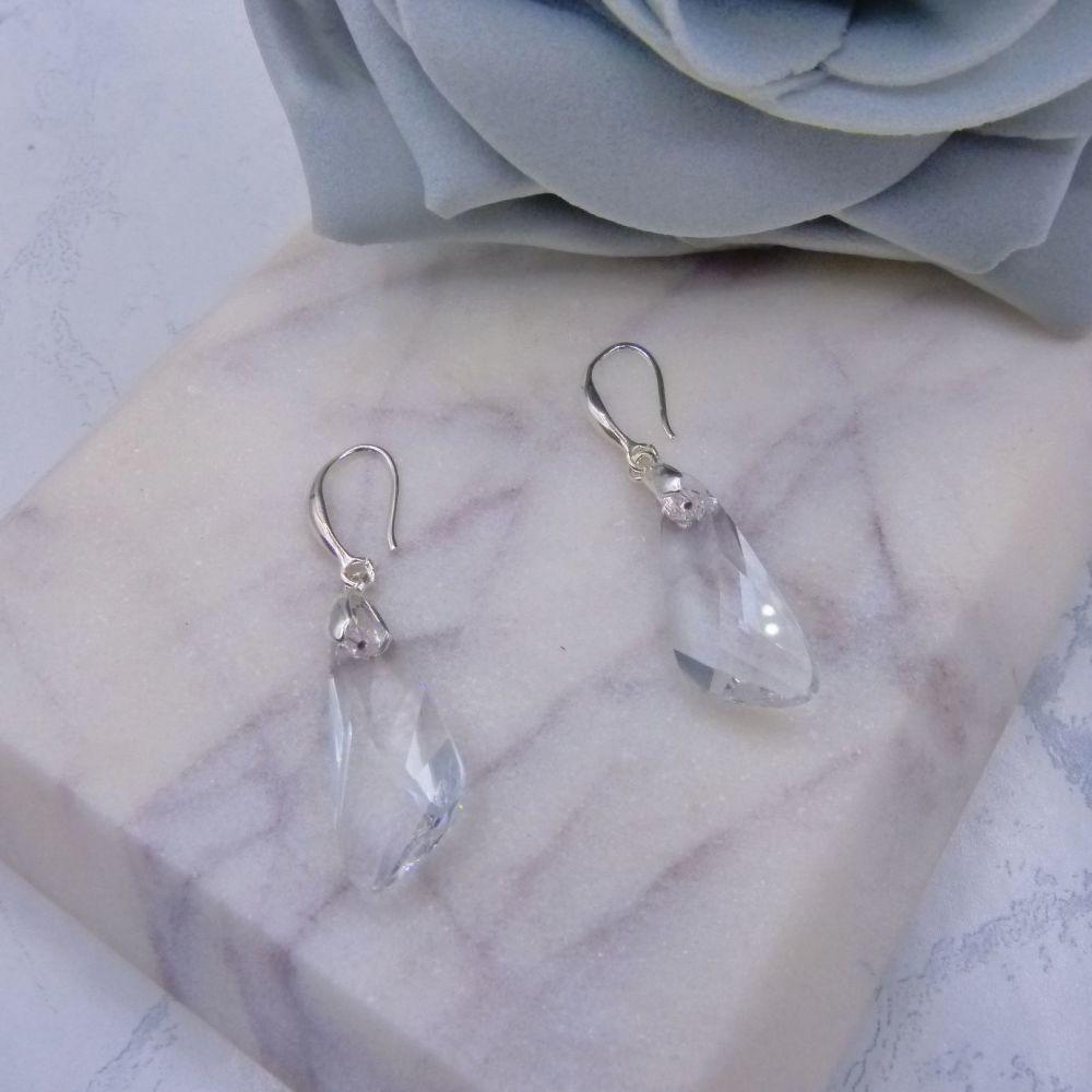 Clear Crystal 'Wing' Earrings