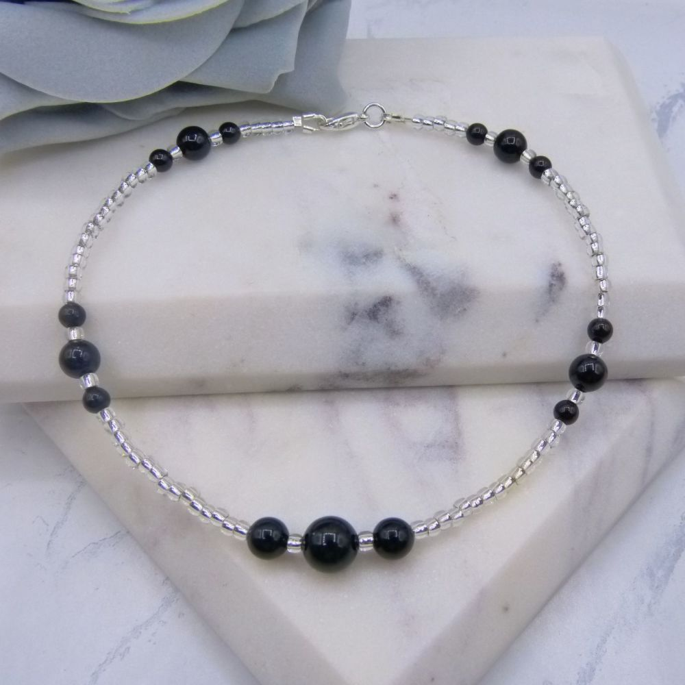 Black Pearl & Silver Seed Bead Anklet