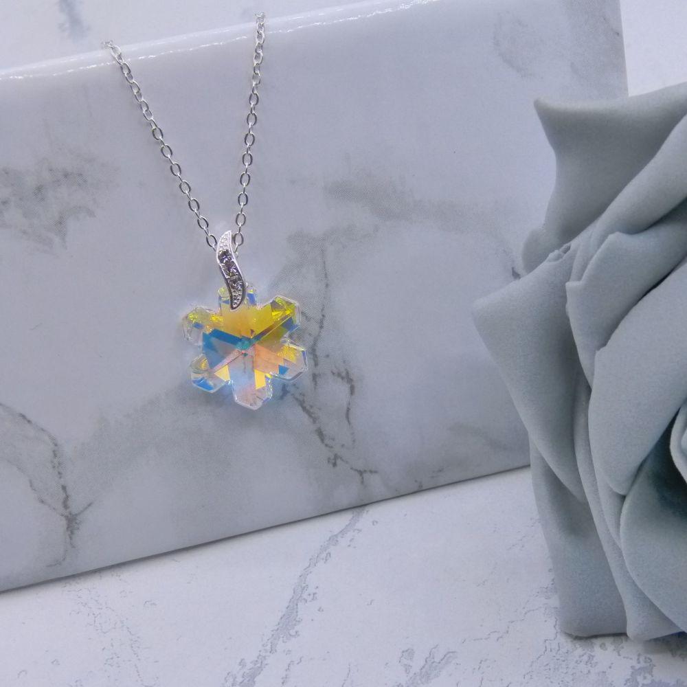 Aurora borealis Crystal Snowflake Pendant
