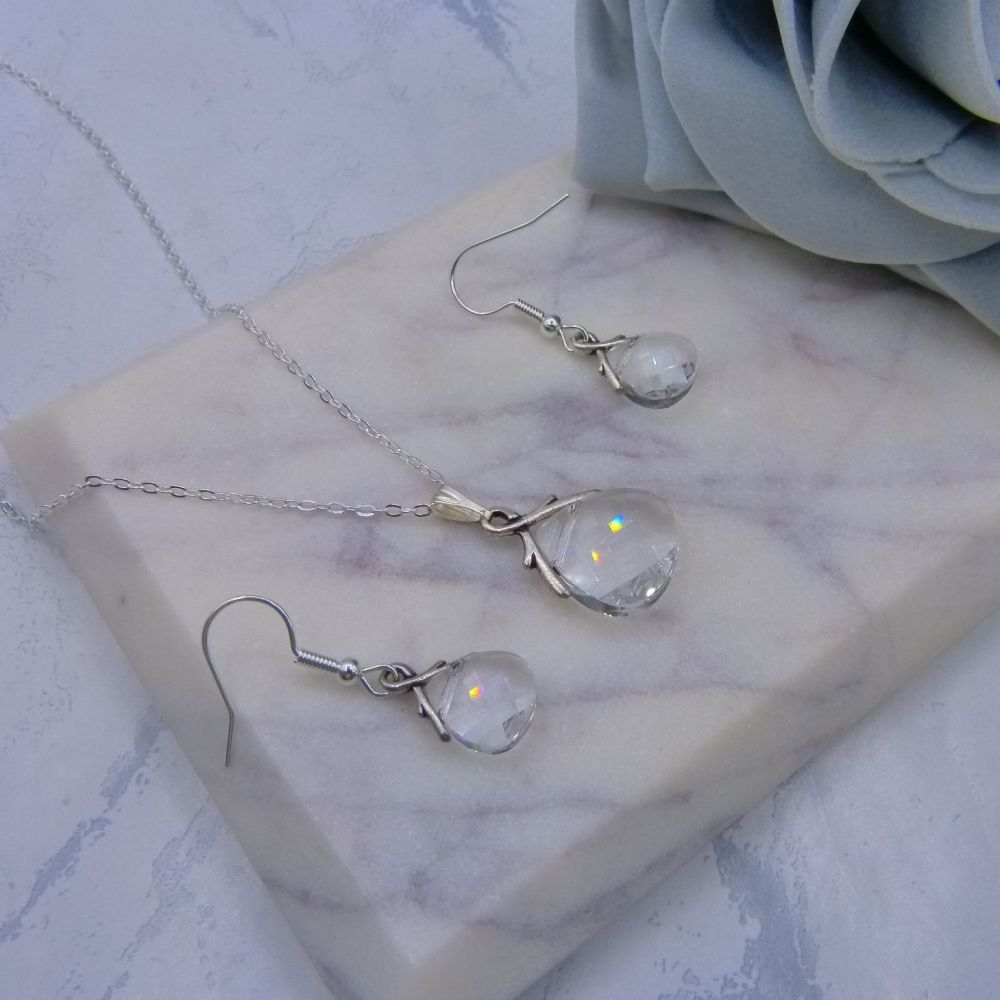 Clear Crystal Briolette Jewellery Set