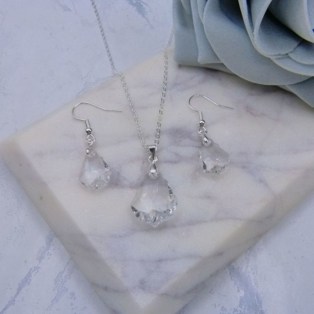 Clear Baroque Crystal Jewellery Set