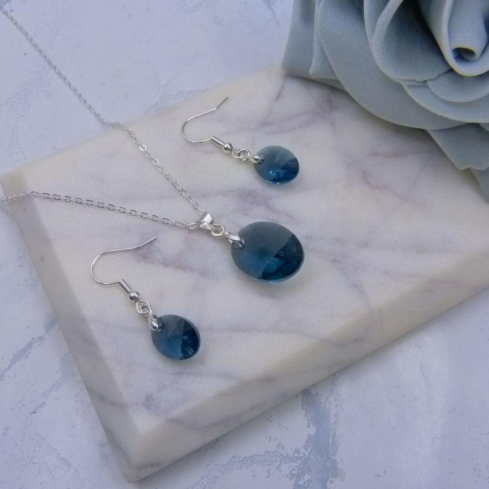 Navy Blue Oval Crystal Jewellery Set