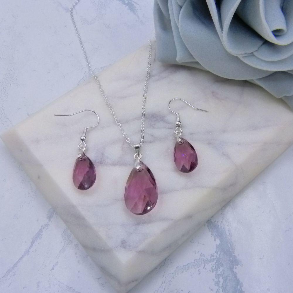 Iris Crystal Pear Drop 2 Piece Jewellery Set
