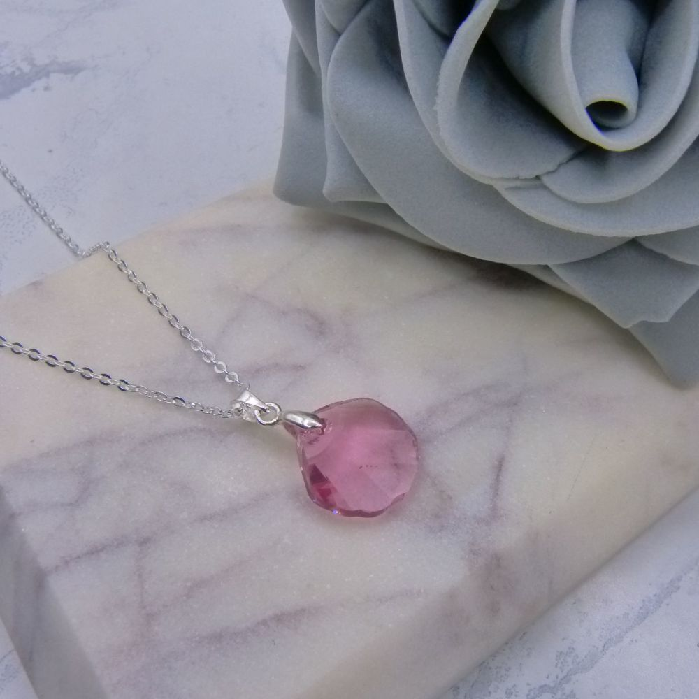Rose Pink Crystal Shell Pendant