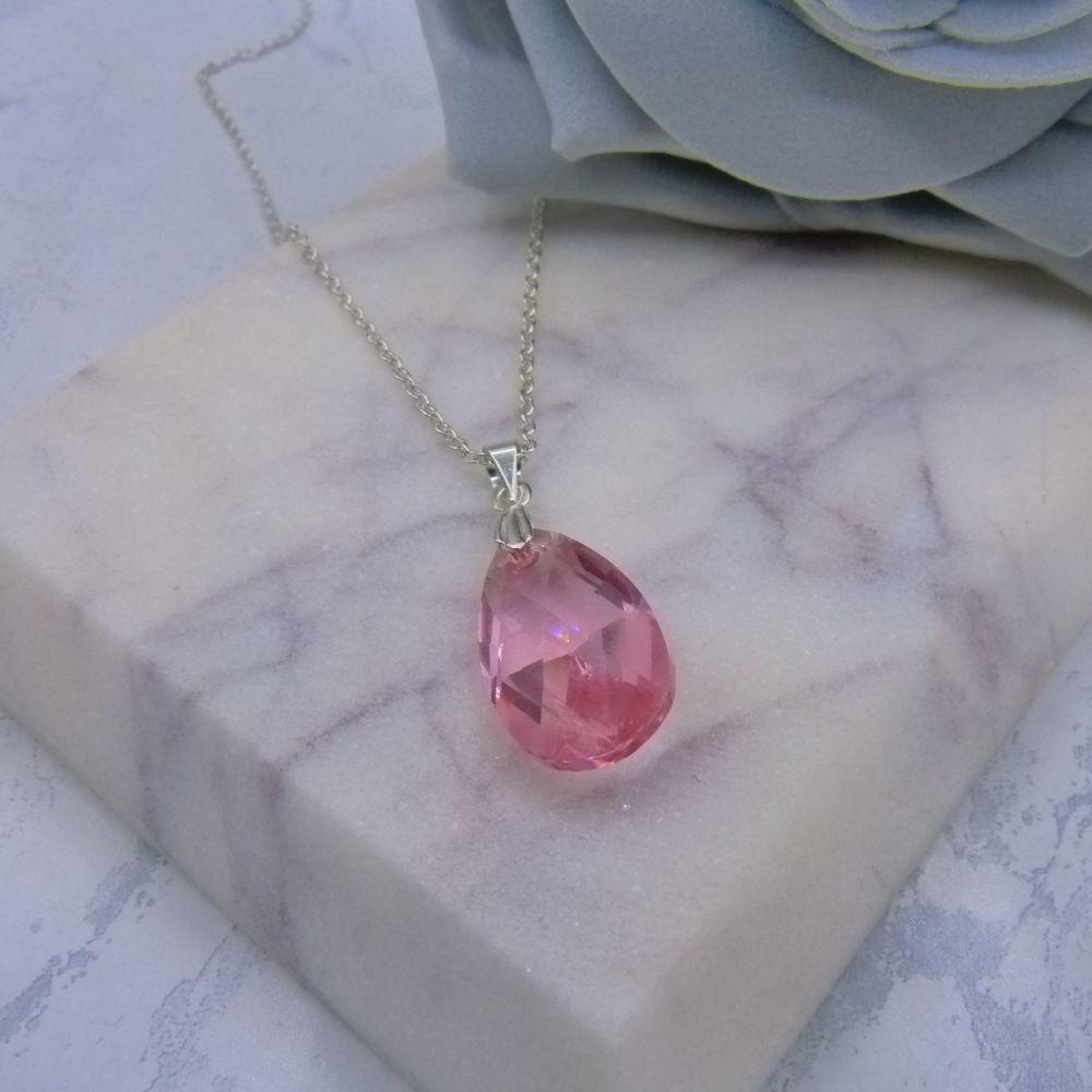 Pink Crystal Pear Drop Pendant