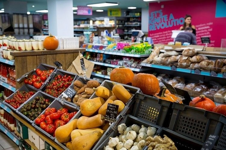 Fresh fruit & vegetables on display in the Brighton Hisbe Food store