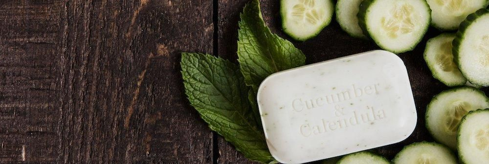A cucumber & calendula soap bar