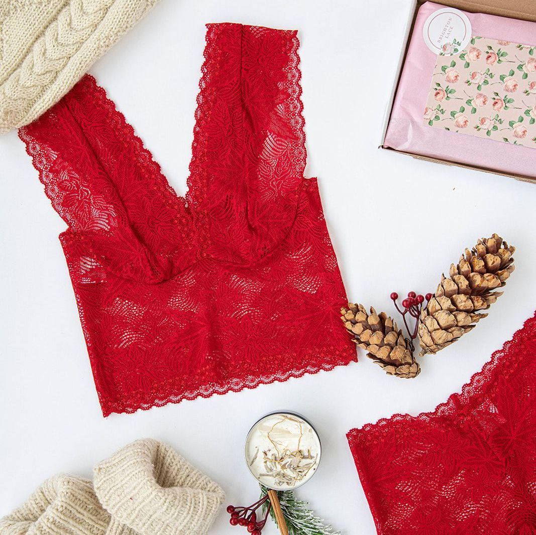 Red Maple Leaf Racerback Bralette And High Waisted Knicker Set