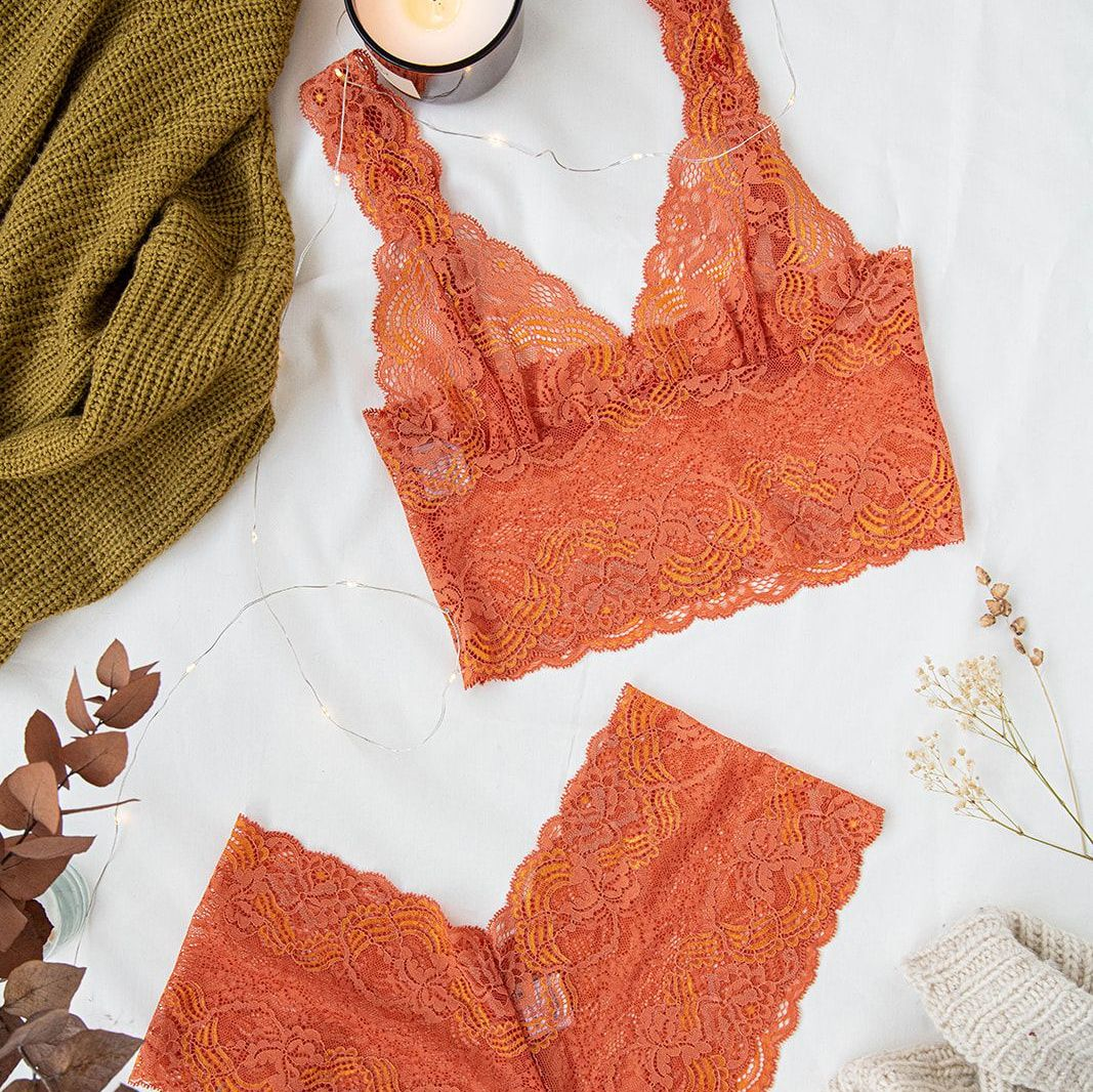 Tangerine Dream Longline Bralette And French Knicker Set