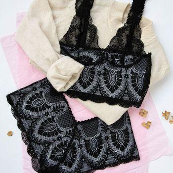 Black Lace Art Nouveau Set - Brighton Lace