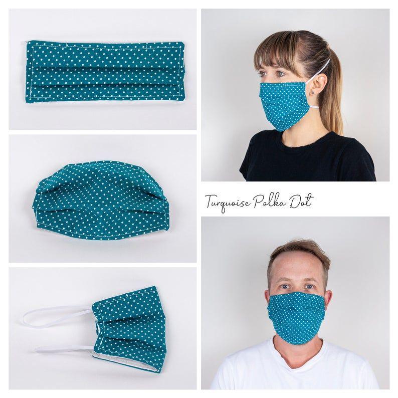 Turquoise Polka Dot Face Mask