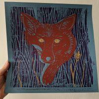 Fox Linocut Print - Phoebe Kirk