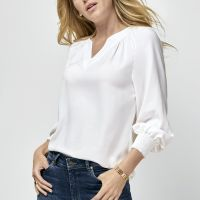 Breezy White Blouse With Smocked Cuffs - Graysey London