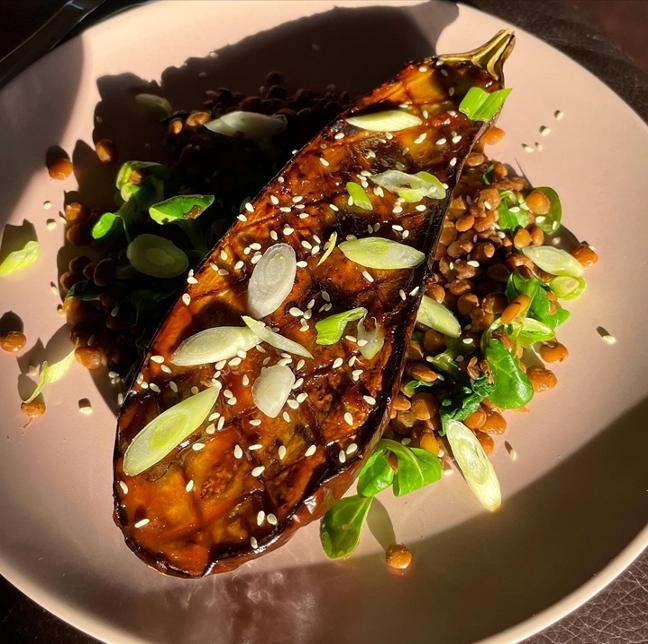 Miso Aubergine with paprika lentils