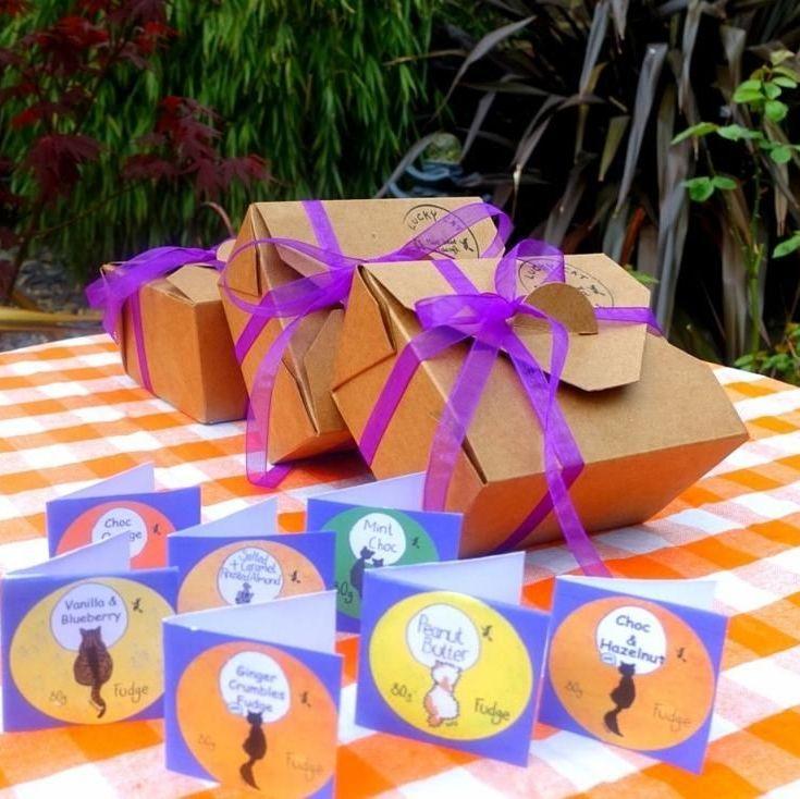 Fudge gift box 250g - Vanilla, White Chocolate & Blueberry - Lucky Cat Co.