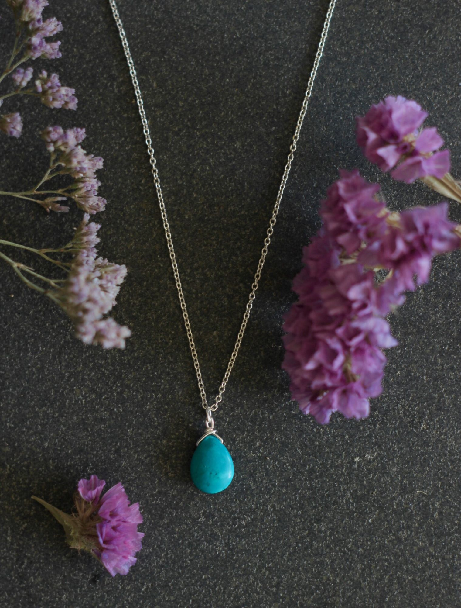 Teal Tear Drop Necklace From AMC Jewellery