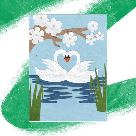 Swans in Love, Together Forever Card - Ethiqana