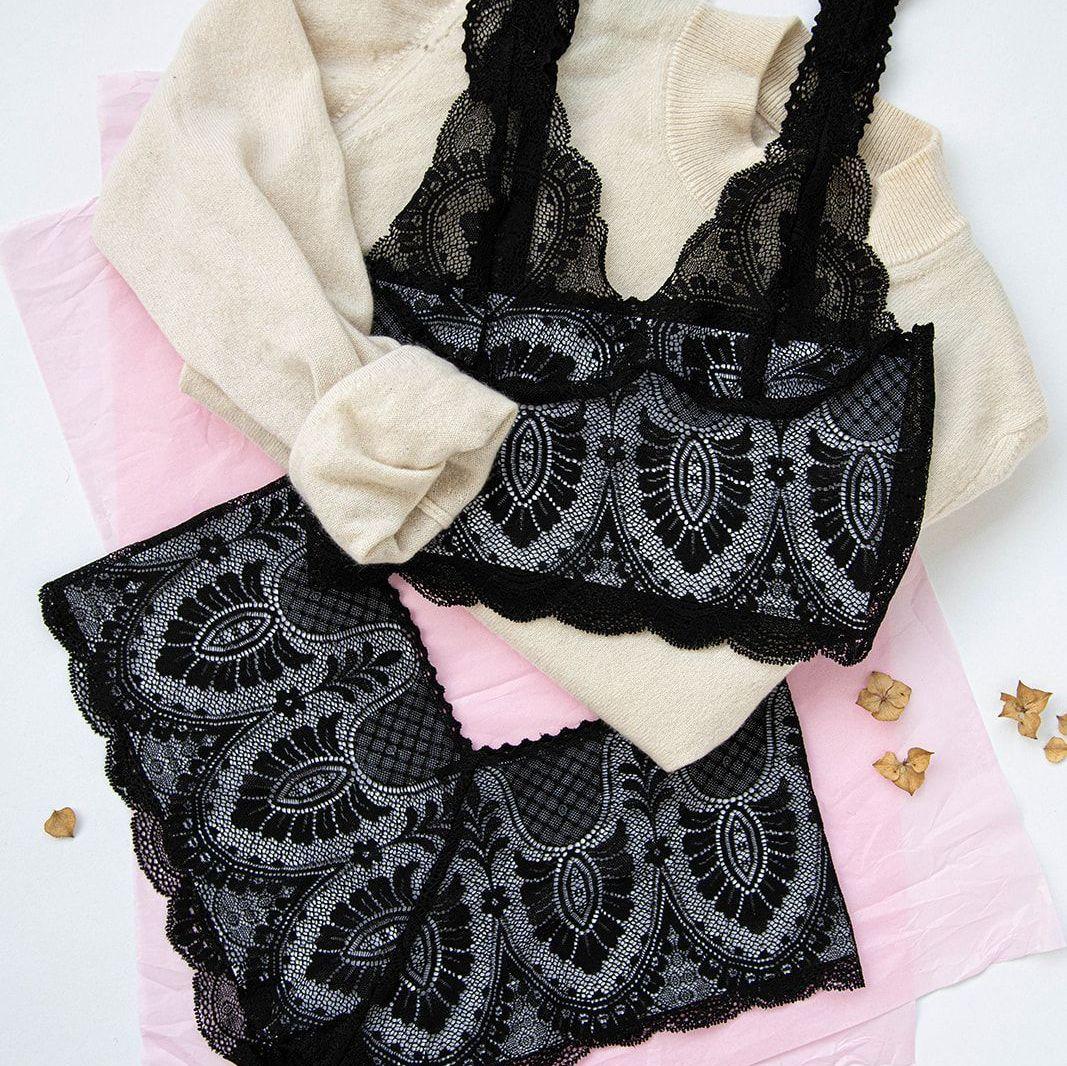 A black lace art nouveau set from Brighton Lace