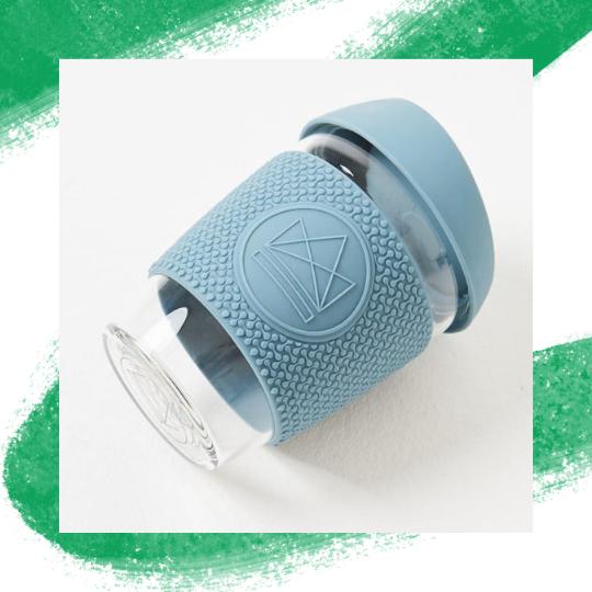 Blue Neon Kactus Reusable Glass Coffee Cups 12oz - My Green Pod