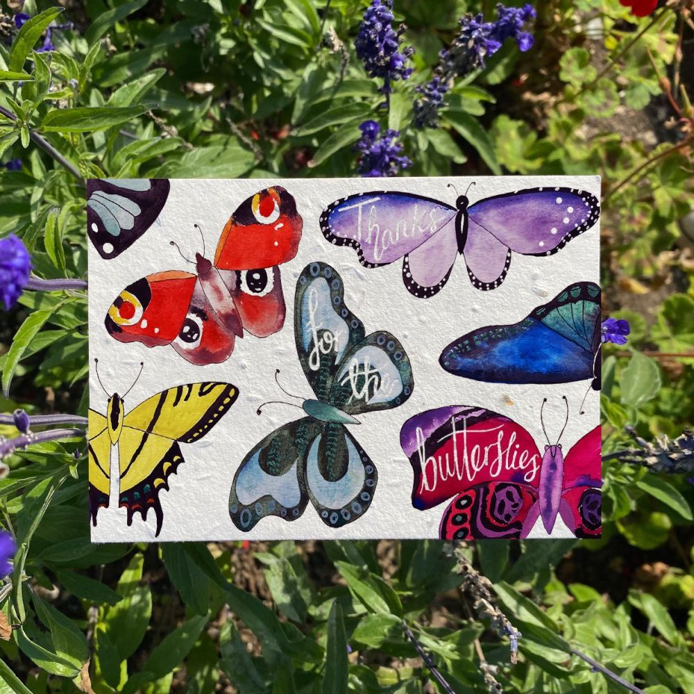 A thanks for the butterflies card by Loop Loop. Which shows 7 colourful butterflies on a small plantable greeting card