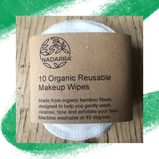 Organic Bamboo Make Up Remover Pads - 10 Pack - Nadarra Cosmetics