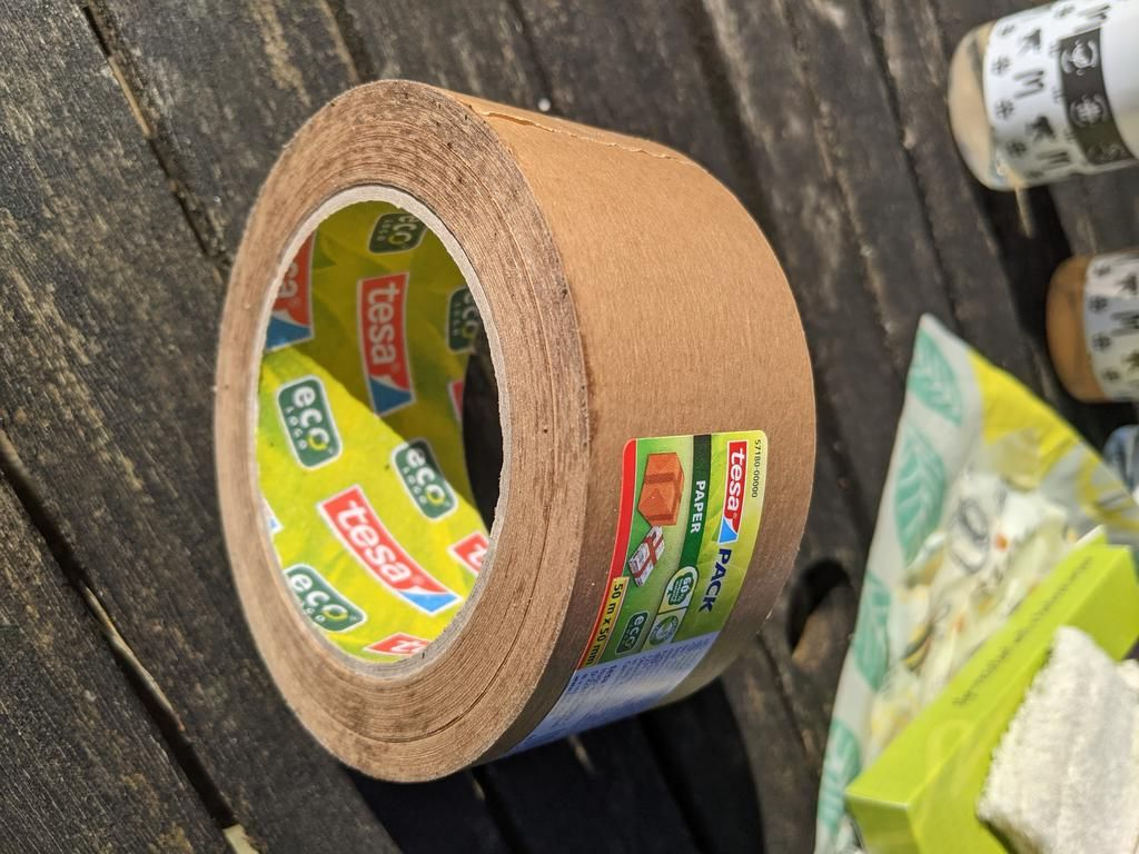 A reel of eco-friendly paper tape.