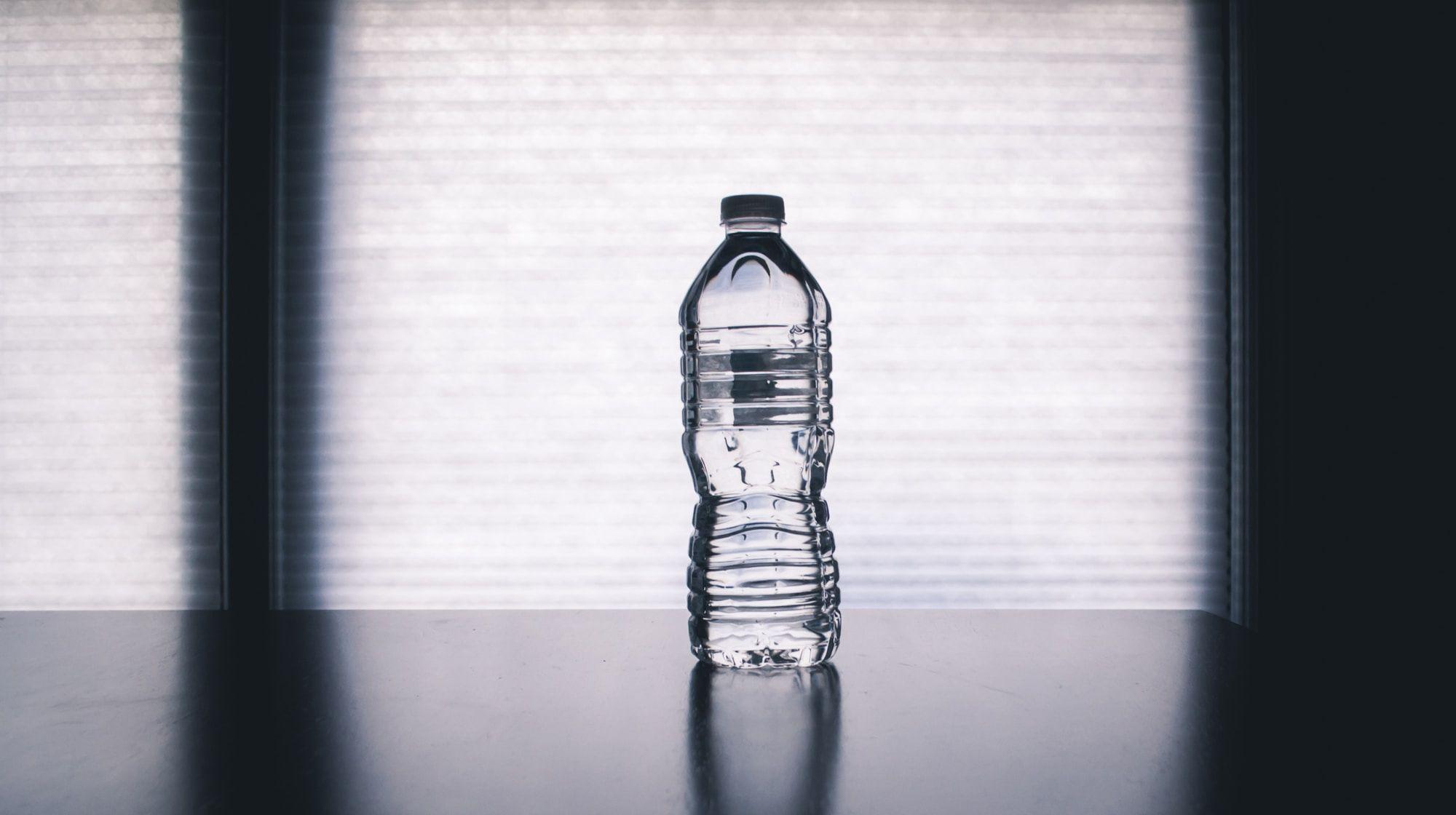 A plastic water bottle