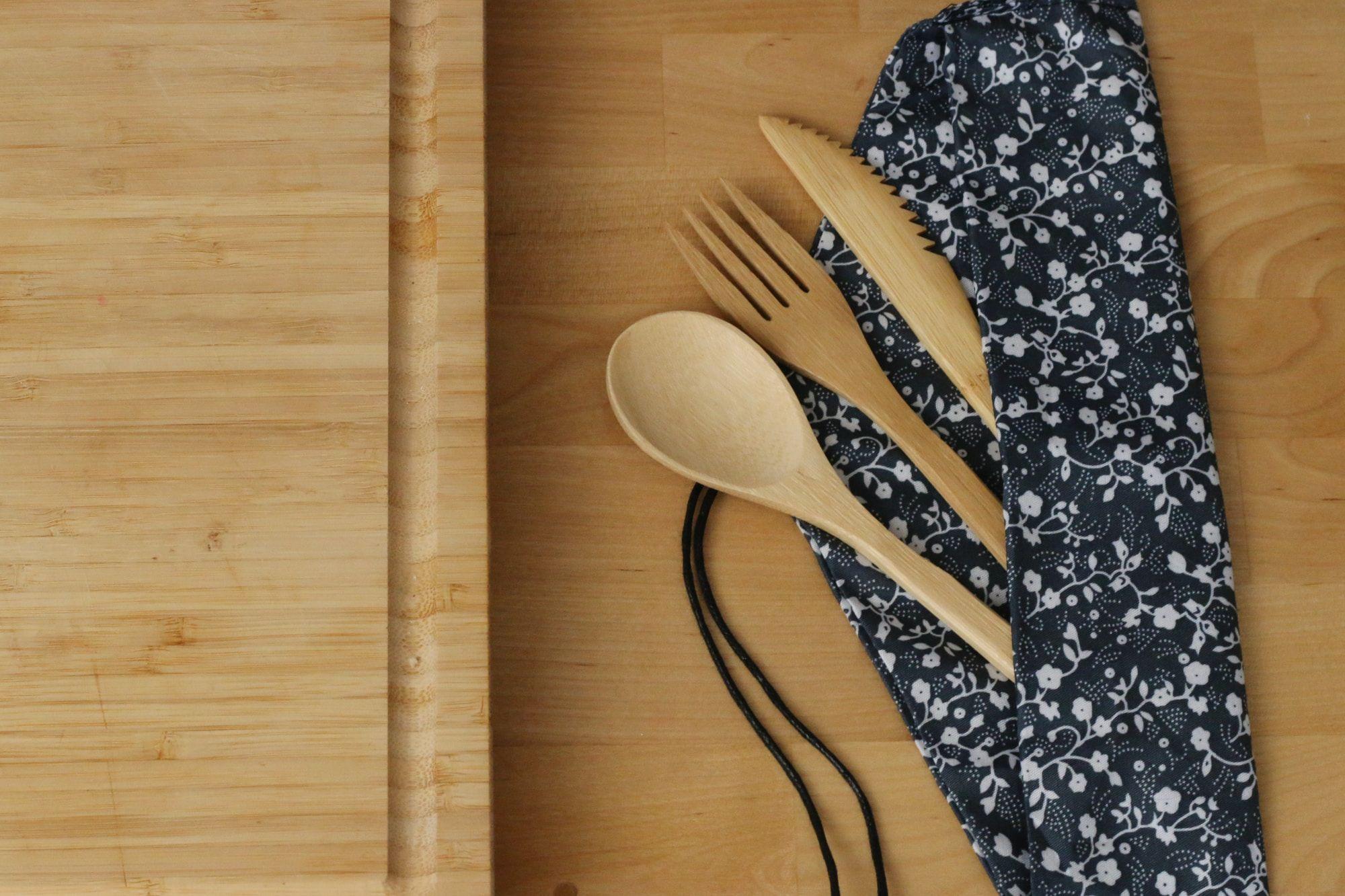 A bamboo cutlery set