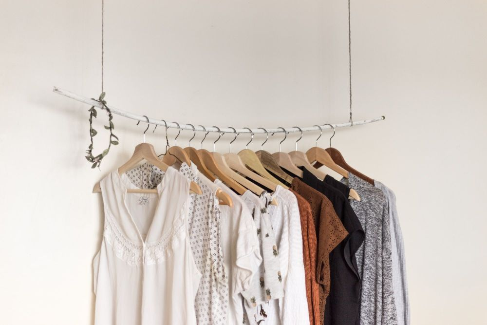 A rail of slow fashion clothes.