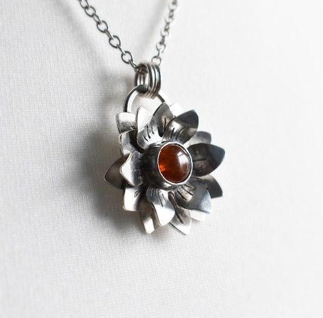 Woodland Flower Necklace with Hessonite Garnet - The Sylverling Workshop