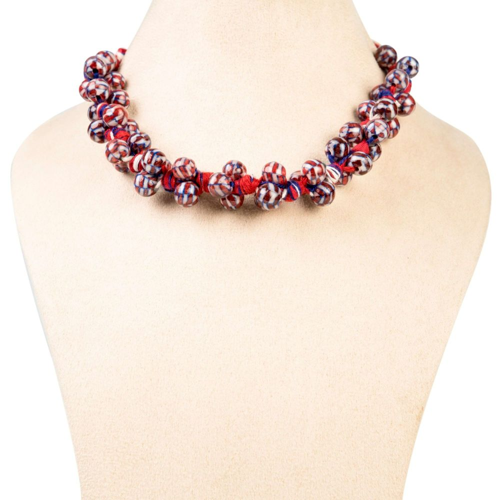 Bunch Necklace – Red Blue White - Ethiqana