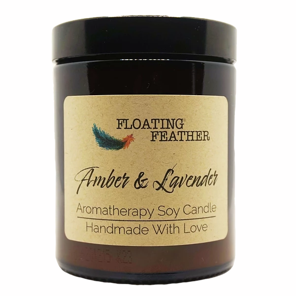 Candle Amber & Lavender - Scented Soy Wax - Floating Feather