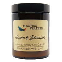 Candle Lemon & Geranium - Scented Soy Wax - Floating Feather