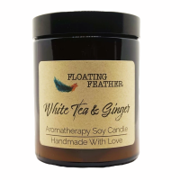 Candle White Tea & Ginger - Scented Soy Wax - Floating Feather