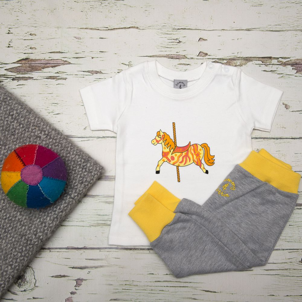 Carousel Horse – T Shirt and Leggings Baby Gift Set - Tommy & Lottie