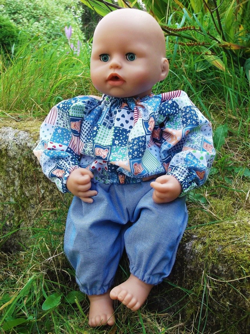 Patchwork Print Top and Jeans Set for Boy Baby Dolls