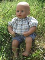 Blue Checked Top & Short Jeans for Boy Baby Dolls