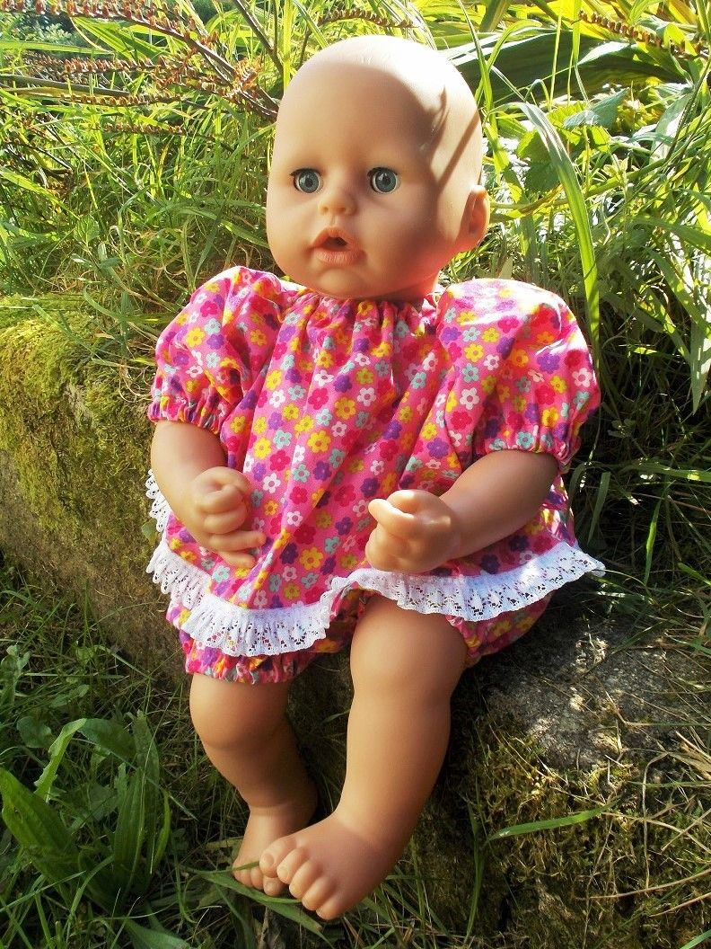 Cerise Floral Angel Top and Pants Set for Baby Dolls