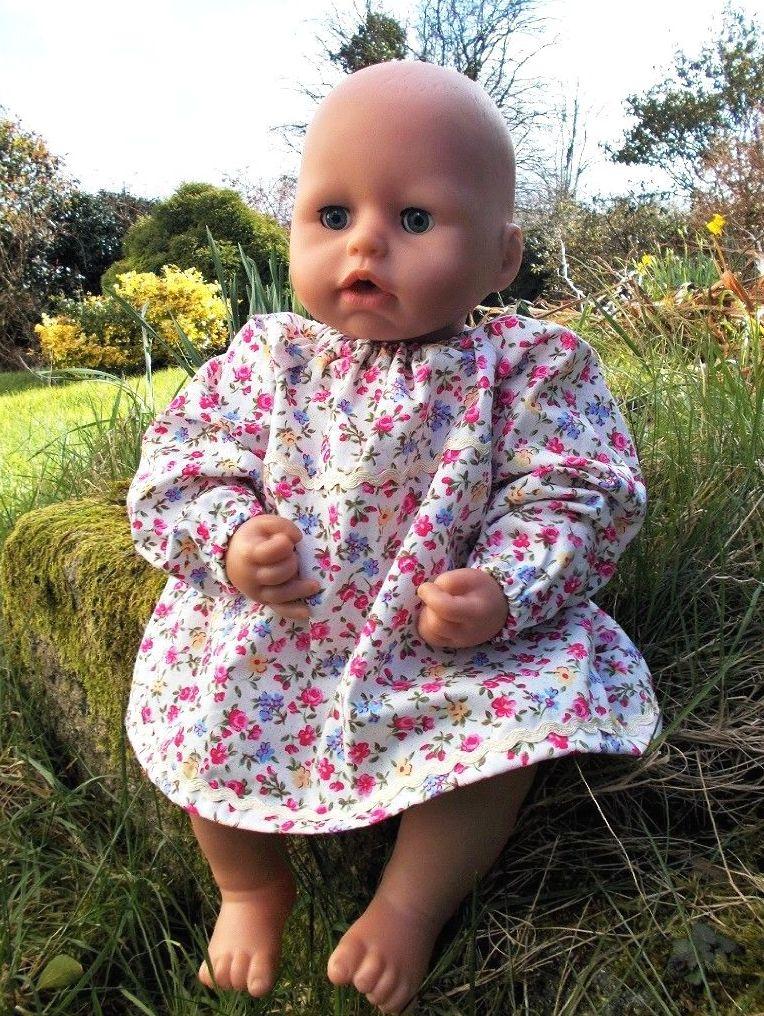 Cream Flowers Dress for Baby Dolls